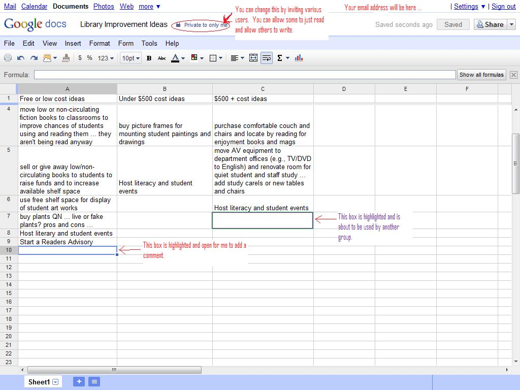 Icthinking Google Docs - Google spreadsheet examples